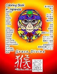 Coloring Book in Japanese Celebrate Year of the Monkey Learn Japanese Writing + Culture 20 Original Handmade Drawings Fantastic Monkeys Lord Chango Lo