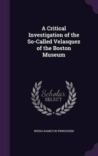 A Critical Investigation of the So-Called Velasquez of the Boston Museum