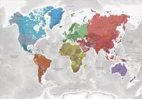 Världen väggkarta Coloured Continents Norstedts i tub