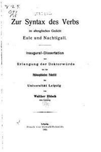 Zur Syntax Des Verbs Im Altenglischen Gedicht Eule Und Nachtigall