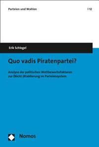 Quo Vadis Piratenpartei?: Analyse Der Politischen Wettbewerbsfaktoren Zur (Nicht-)Etablierung Im Parteiensystem