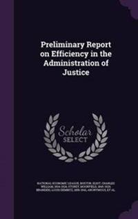 Preliminary Report on Efficiency in the Administration of Justice