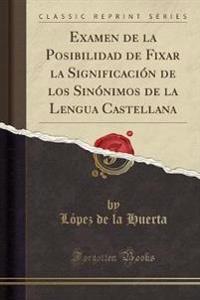 Examen de la Posibilidad de Fixar La Significacion de Los Sinonimos de la Lengua Castellana (Classic Reprint)