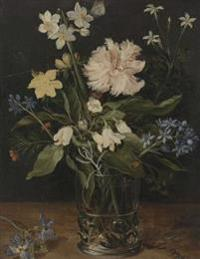 Still Life of Flowers in a Glass Vase, Jan Brueghel. Blank Journal: 150 Blank Pages, 8,5x11 Inch (21.59 X 27.94 CM) Soft Cover