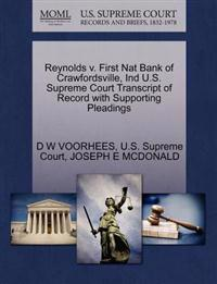 Reynolds V. First Nat Bank of Crawfordsville, Ind U.S. Supreme Court Transcript of Record with Supporting Pleadings
