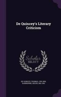 de Quincey's Literary Criticism