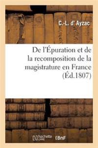 de l'�puration Et de la Recomposition de la Magistrature En France