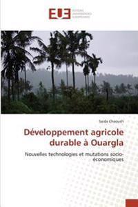 Développement agricole durable à Ouargla