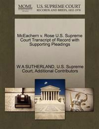McEachern V. Rose U.S. Supreme Court Transcript of Record with Supporting Pleadings