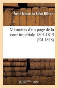 Memoires D'Un Page de la Cour Imperiale 1804-1815