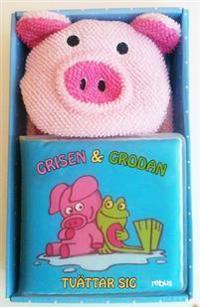 Grisen och Grodan tvättar sig - badbok med badhandske