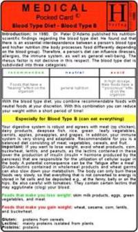 Blood Type B Diet - Medical Pocket Card