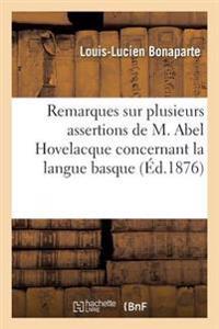 Remarques Sur Plusieurs Assertions de M. Abel Hovelacque Concernant La Langue Basque