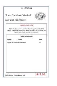 North Carolina Criminal Law and Procedure-Pamphlet 34