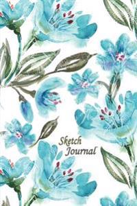 Sketch Journal: Blue Green Flowers 6x9 - Pages Are Lined on the Bottom Third with Blank Space on Top