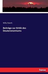 Beitrage Zur Kritik Des Deuteronomiums