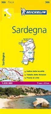 Sardinia Michelin 366 delkarta Italien : 1:200000