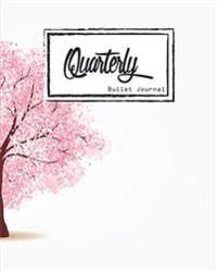 Bullet Journal: Dot Grid, Quarterly Guided, Pink Tree, Cherry Blossoms Cover Notebook, 8 X 10, 90 Page: Small Journal Notebook Diary f