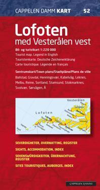 Lofoten med Vesterålen vest; bil- og turistkart