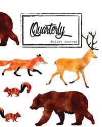 Bullet Journal: Dot Grid, Quarterly Guided, Wild Animal Fox Bear Deer Squirrel, Composition Notebook, 8 X 10, 90 Page: Small Journal N