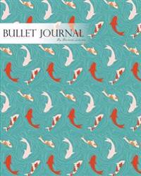 Bullet Journal Notebook Dotted Grid, Graph Grid-Lined Paper, Large, 8x10,150 Pages: Japanese Koi Pond Aqua Blue Water Covers: Master Journaling with B