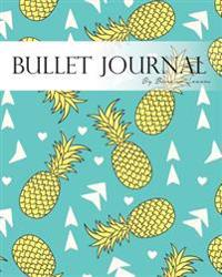 """Bullet Journal Notebook, Dotted Grid, Graph Grid-Lined Paper, Large, 8""""x10,"""" 150 Pages: Doodles Summer Yellow Pineapple Aqua Blue Soft Covers: Master"""