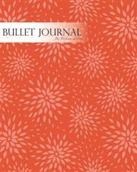 Bullet Journal Notebook Dotted Grid, Graph Grid-Lined Paper, Large, 8x10,150 Pages: Hand Draw Geometric Oriental Flowers Red Orange Cover: Master Jour