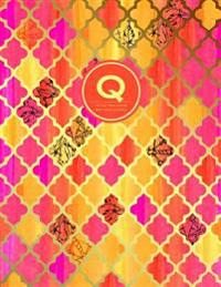 Q - Initial Monogram Journal - Dot Grid, Moroccan Orange Pink: Large Softcover Notebook, 8.5 X 11