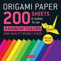 Origami Paper 200 Sheets Rainbow Colors 6 inches