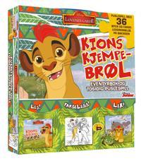 Løvenes garde. Kions kjempebrøl. Eventyrbok og tosidig puslespill. Puslespill med 36 biter og fargeleggingsbok på baksiden