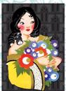 Lady with Ringlets & Flowers - Deluxe Die Cut Notecards