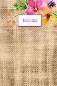 Burlap Faux Texture Pretty Flowers Journal: (Notebook, Diary, Blank Book)