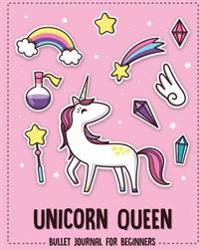 Unicorn Queen: Bullet Journal for Beginners with (8x10 Inches) Dot Grid & Graph Paper Inside