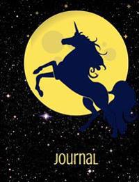 Journal: Blue Unicorn and Full Moon Lined Journal with Beautiful Swirly Boarders Authored by Easy Art