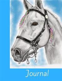 White Indian Horse Journal: Diary, Notebook, 100 Lined Journal Pages with Beautiful Swirly Boarders