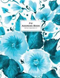 Large Address Book - Office/Desk 8.5 X 11: Floral Teal