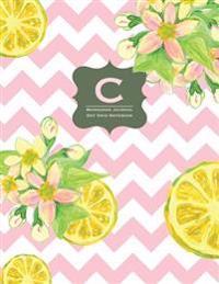 Monogram Journal C - Dot Grid Notebook: Vintage Pink Lemonade - Yellow, Grey, Chevron, Large 8.5 X 11