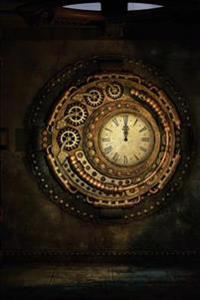 A Cool Steampunk Clock with Gold Metallic Gears Science Fiction Journal: 150 Page Lined Notebook/Diary