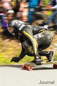 Journal: Male Red Wheel Racer: Longboard Racer with Red Wheels Blank Lined Journal