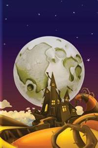 Cartoon Moon Haunted House Grid Notebook: 150 Page Grid Notebook Journal Diary