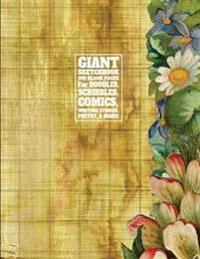 Giant Sketchbook 300 Blank Pages for Doodles, Scribbles, Comics, Writing Stories: Vintage Postcard Cover Design, Big Sketchbook