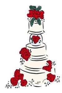 Wedding Journal Wedding Cake Red Flowers: (Notebook, Diary, Blank Book)
