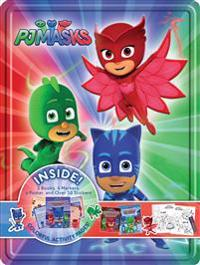 PJ Masks Collector's Tin [With Two 24-Page Paperbacks, One 32-Page Paperback and One Sheet of Stickers and One Poster and Fo