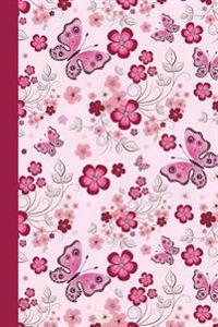 Graph Journal: Floral with Butterflies (Pink) 6x9: Journal with Graph-Paper Pages, Square Grid Pattern