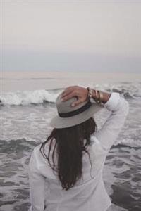 A Girl in a Hat Looking at the Ocean Travel and Adventure Journal: 150 Page Lined Notebook/Diary