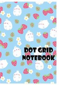 Dot Grid Notebook: Rabbit and Strawberry: 110 Dot Grid Pages, 7 X 10