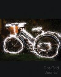 Dot Grid Journal: Sparkling Bike: Sparklers Light a Female Bike at Night Dot Grid Journal