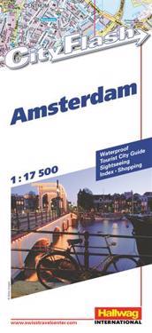 Amsterdam City Flash Hallwag stadskarta : 1:17500