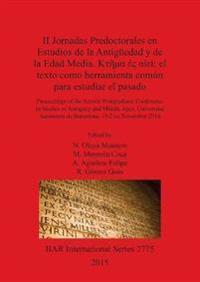 II Jornadas Predoctorales en Estudios en la Antiguedad y la Edad Media