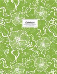 Notebook - 8.5 X 11 Lined Journal: Greenery, Large Floral Softcover